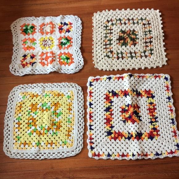 Four Vintage Hand Crochet Knit Doilies Decor